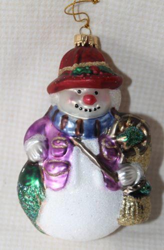 Glass-Fishing-Snowman-Christmas-Ornament-Super-CUTE-EUC-4-1-2-034