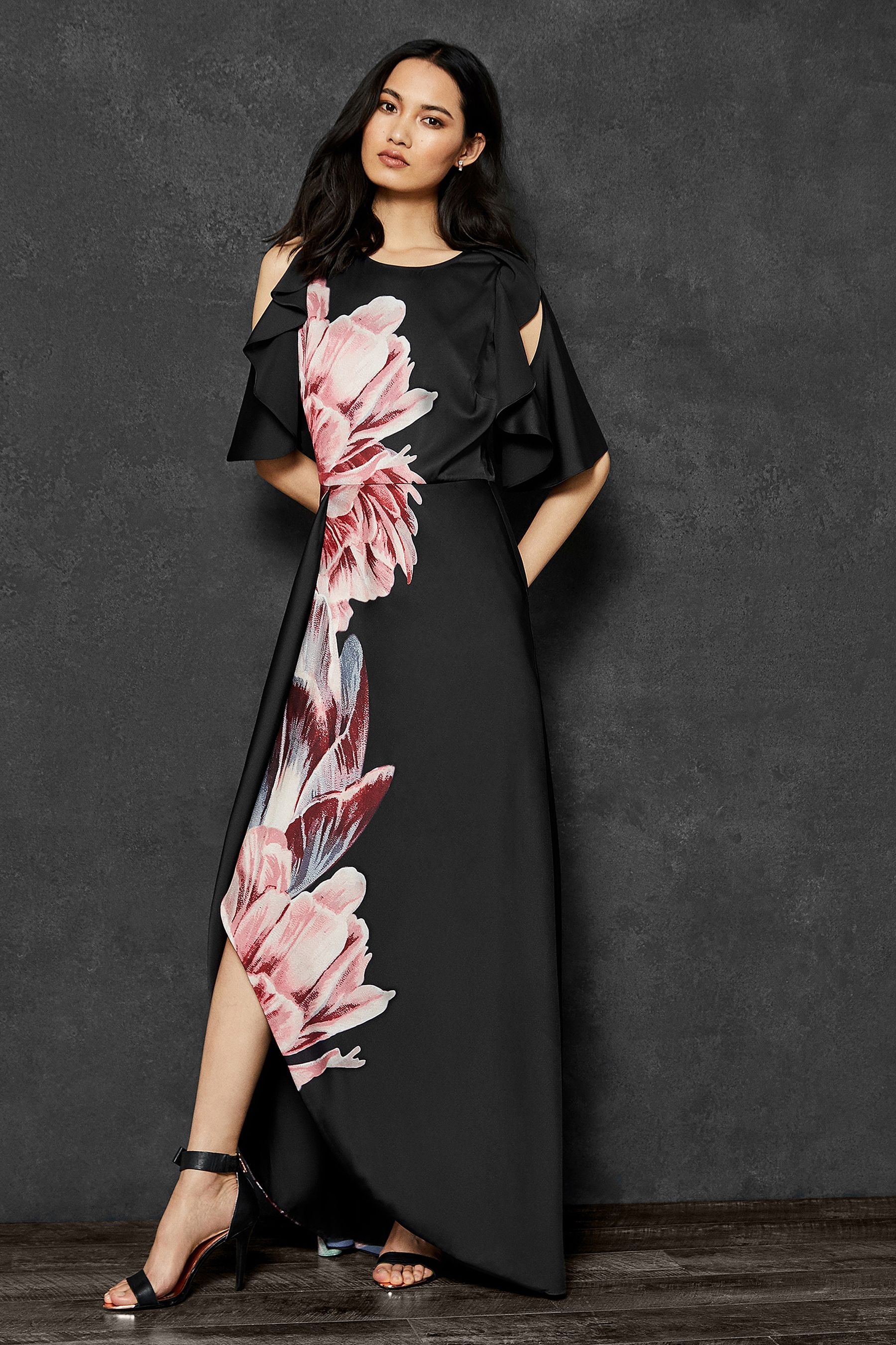 13f8b554e5d6 Womens Ted Baker Ulrika Black Floral Satin Maxi Dress - Black ...