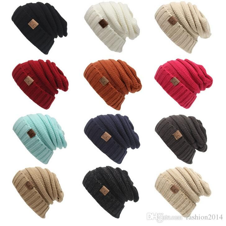 2017 New men women hat CC Trendy Warm Oversized Chunky Soft Oversized Cable Knit Slouchy Beanie 12 color