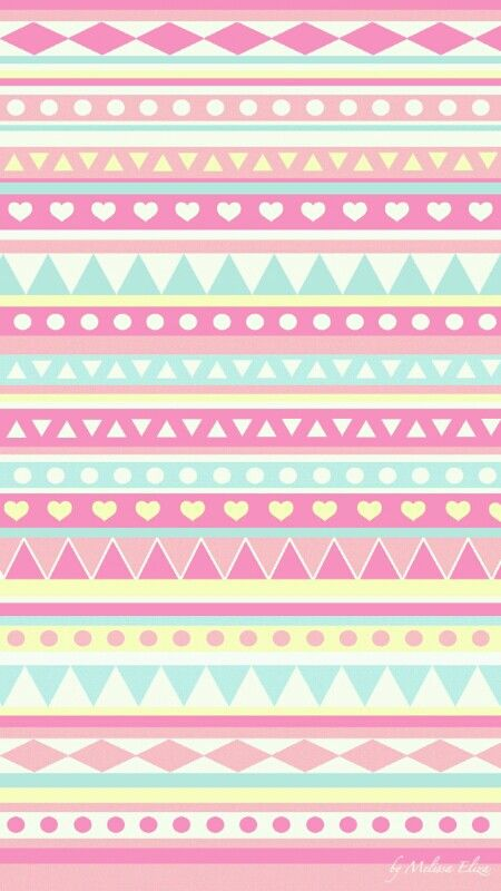 Super Cute Girly Blue Pink Yellow Aztec Prints Wallpaper