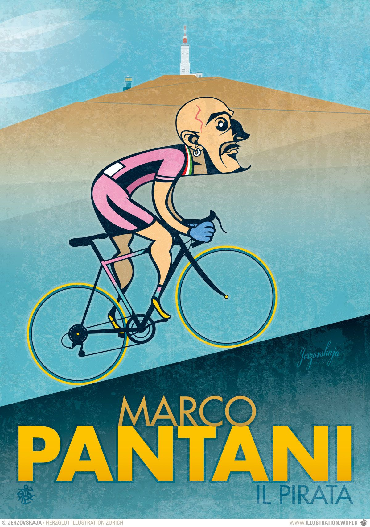Marco Pantani - Il Pirata. Illustration © 2015 by Jerzovskaja. www ...