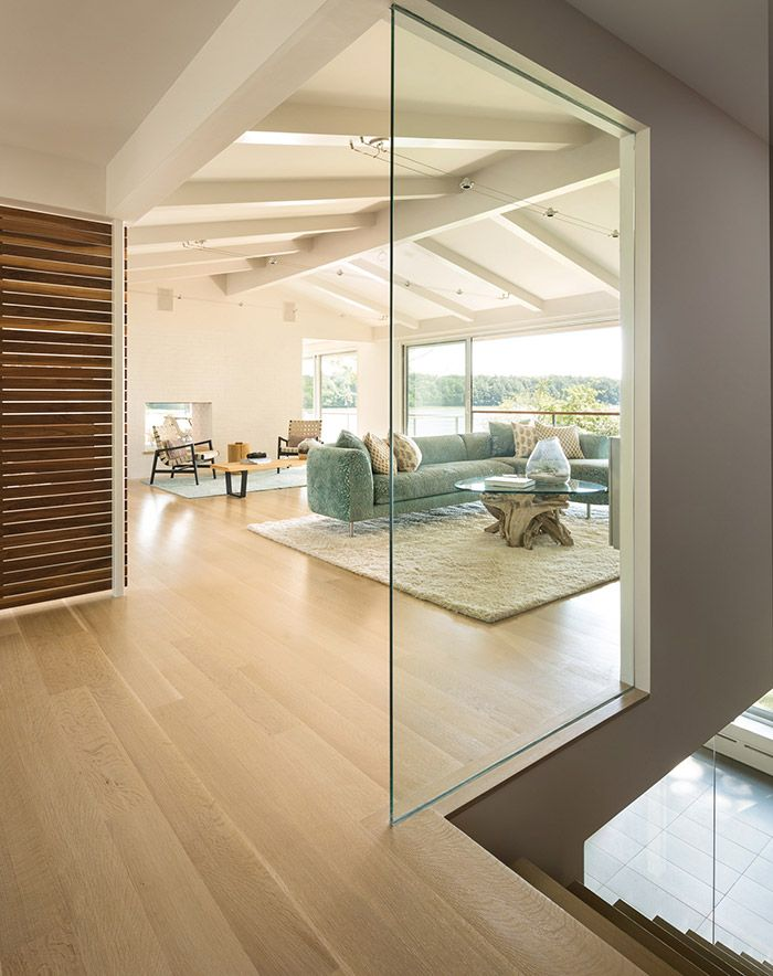 interior design project modern in maine sunroom driftwood glass