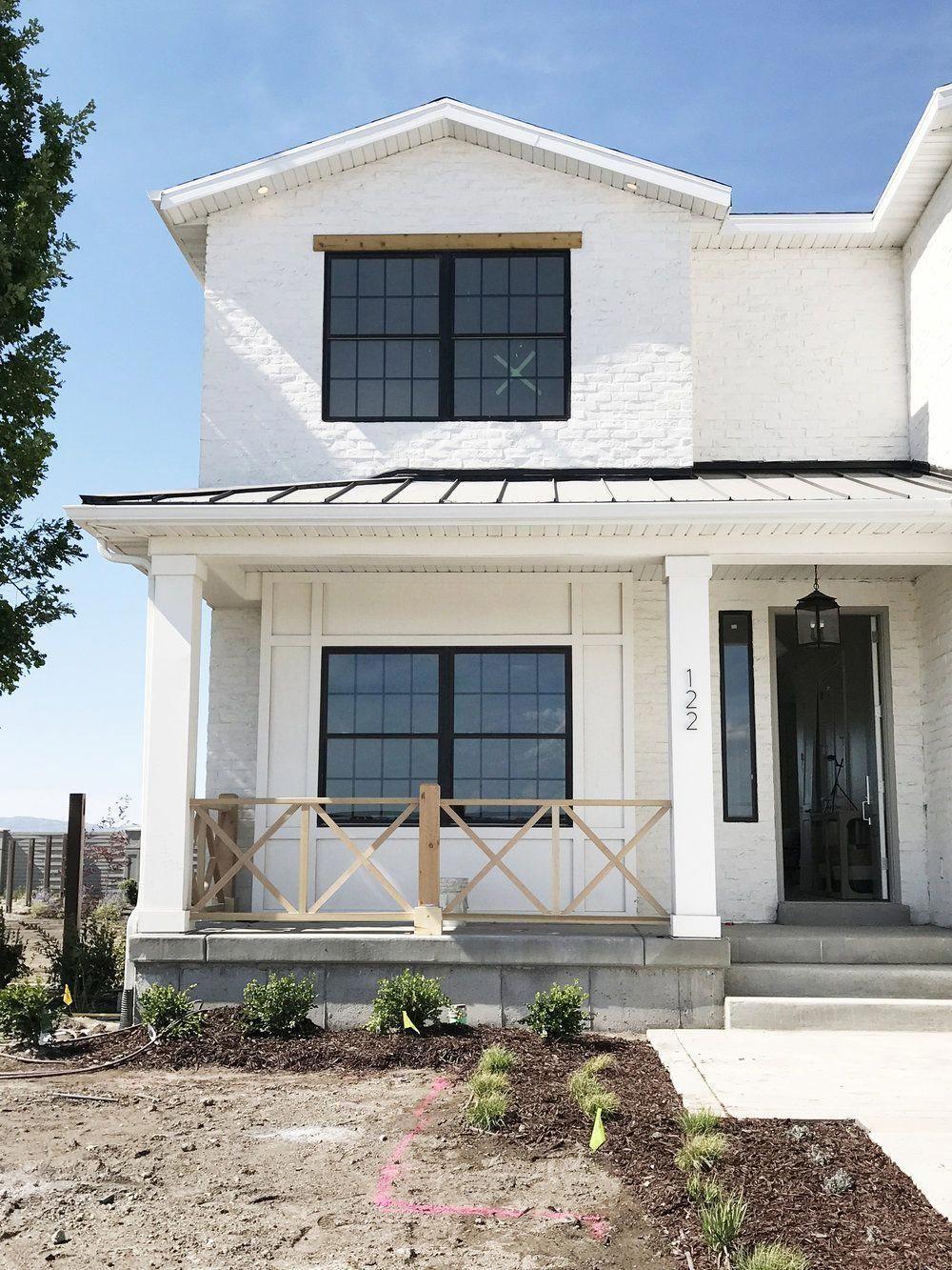 White Brick Metal Roof Black Trim Windows Studio Mcgee Roofing White Brick Houses Modern Farmhouse Exterior Modern Farmhouse Plans
