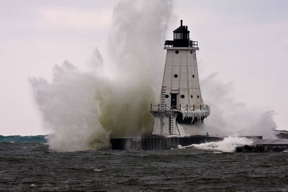 Big Water - Ludington North Breakwater Light - Lake Michigan waves