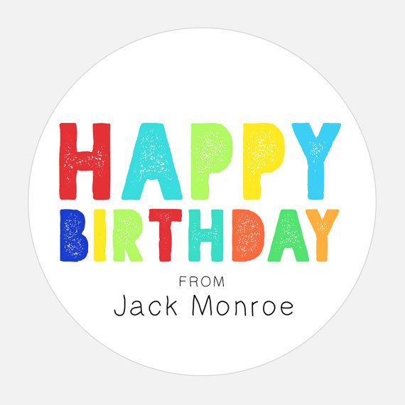 Happy Birthday Gift Stickers Personalized Rainbow Tags Colorful Girl Boy