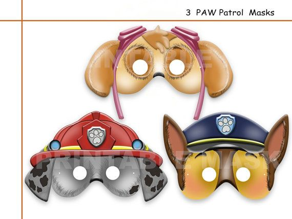 Awesome Unique 3 Paw Patrol Printable Party Masks By AmazingPartyShop