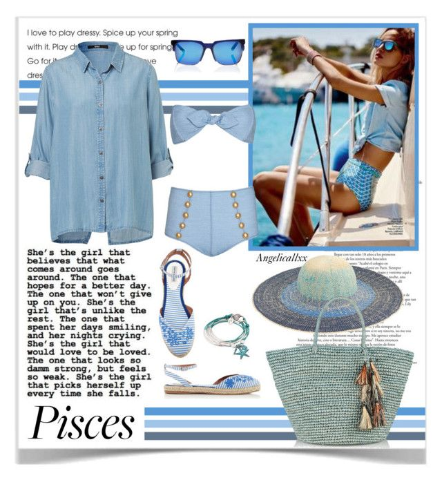 """""""Pisces Girl"""" by angelicallxx ❤ liked on Polyvore featuring J.Crew, Sensi Studio, Pared, Lisa Marie Fernandez, Lizzy James, fashionhoroscope and stylehoroscope"""
