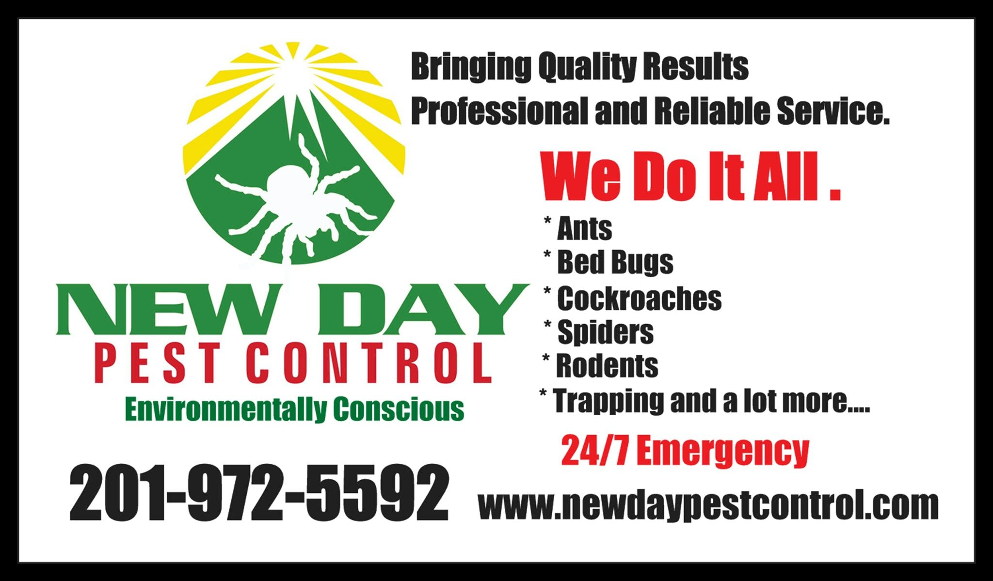 new day pest control business card call now 201 972 5592