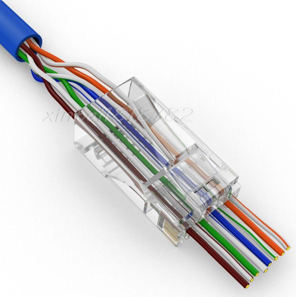 Xintylink 50 Sztuk 100 Sztuk 8p8c Zlacze Zlacze Rj45 Cat5 5e Sieci Nieekranowana Utp Rj45 Modular Wtyczki Terminali Maja Dziur Modular Plug Rj45 Ethernet Cable