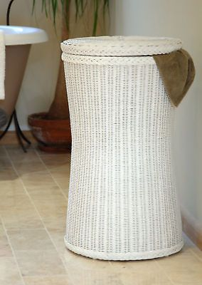 Tall White Wicker Laundry Basket Rattan Linen Bin White