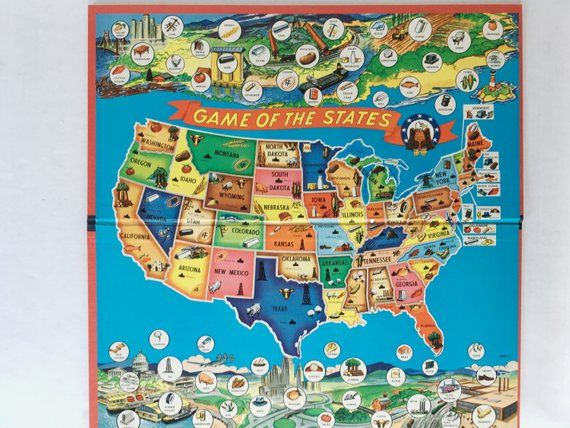 Game of The States - Vintage 1954 Board Game - Milton ...