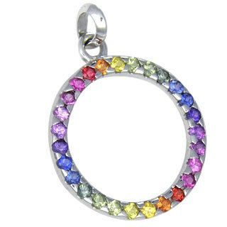 Multicolor rainbow sapphire circle pendant 18k by rainbowsapphire multicolor rainbow sapphire circle pendant 18k by rainbowsapphire mozeypictures Image collections