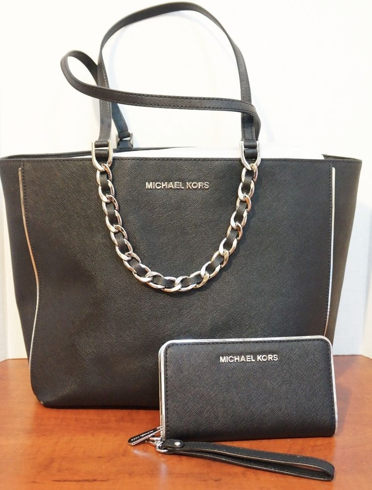 aff3cebcf Michael Kors Harper Specchio Large EW Tote Leather Black Silver AND Phone  Case  295!  MichaelKors  ShoulderBag. Find this Pin and more on Discount  Designer ...