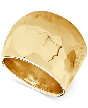 Hammered Wide Dome Ring in 14k Gold - Gold