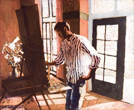 Marcel Schellekens - Schilder in atelier  Painter: Daniel Grisdale.  My husband.