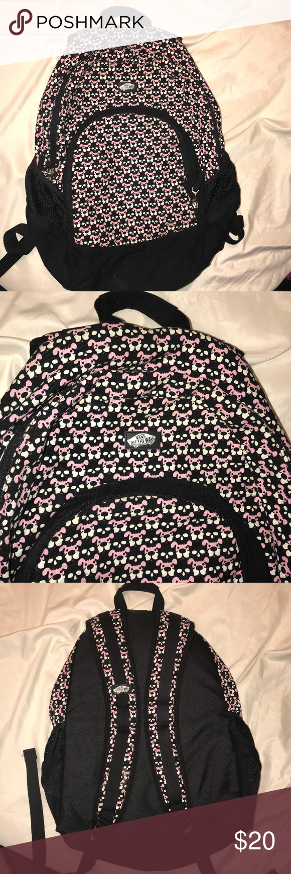 80d3d5d208 Vans Off The Wall Pink puppy Black skull backpack Great condition. No  flaws