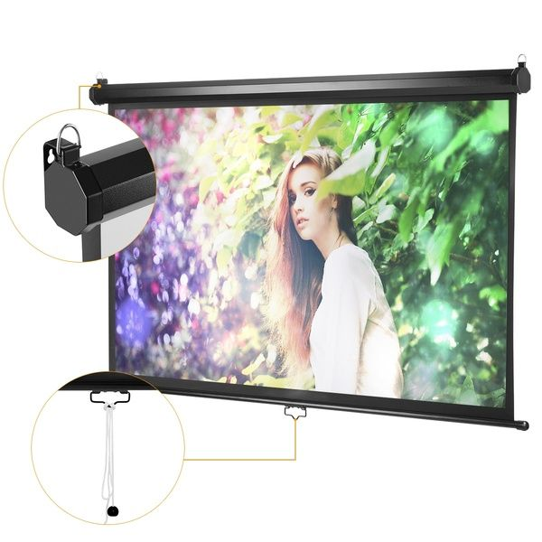 Excelvan 100 Inch Diagonal 16 9 Ratio 1 2 Gain Manual Pull Down Projection Projector Screen Suitable For 1080p Dtv Sports Movies Presentations With Auto Locking Device Projection Screen Cinema Theatre Dtv
