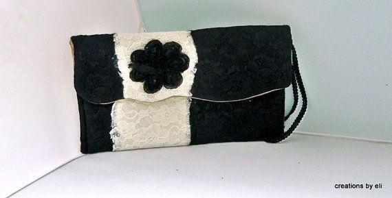 Black and Cream Lace Clutch
