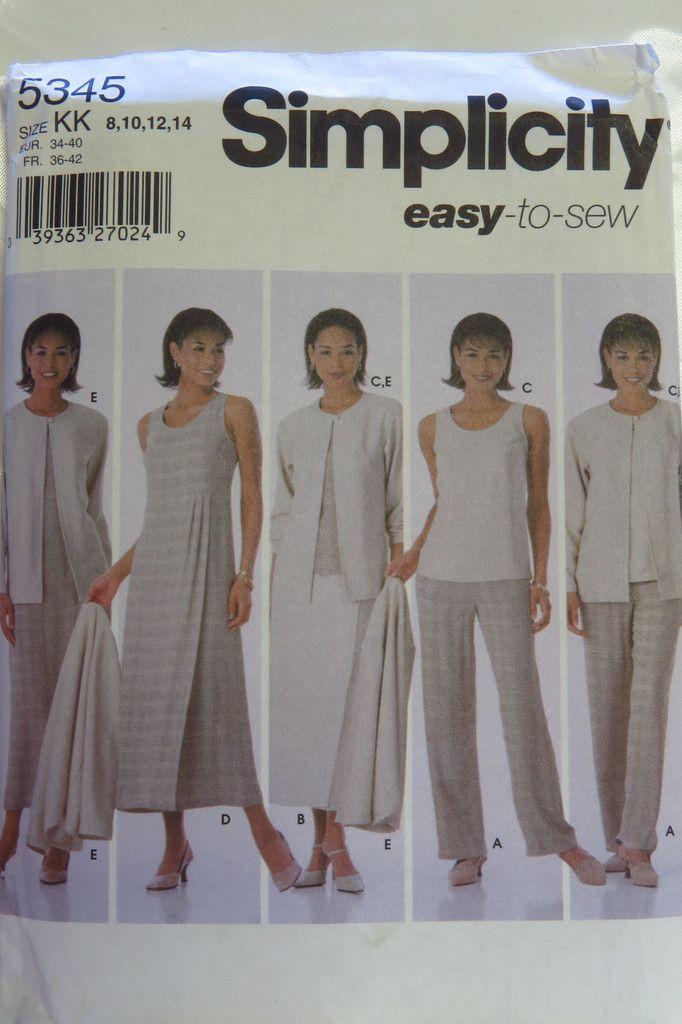 Simplicity 5345 Misses\'/Miss Petite Pants, Skirt, Top, Dress or ...