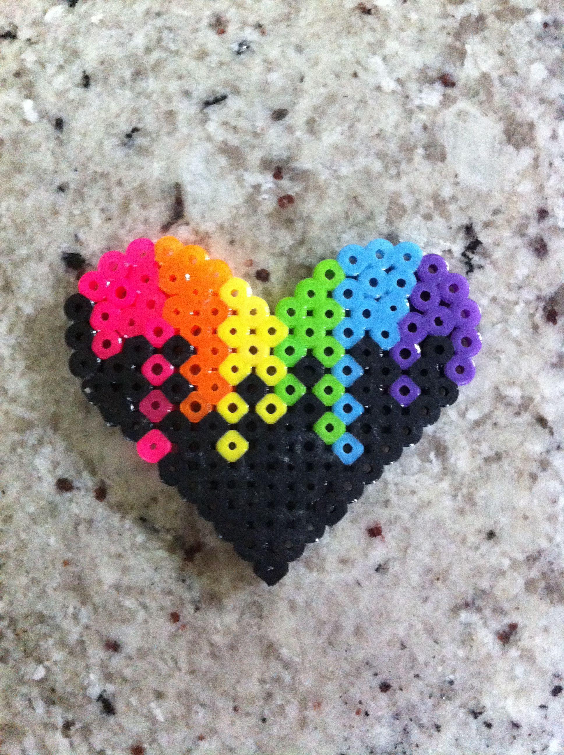 perler beads colorful heart perler beads pinterest. Black Bedroom Furniture Sets. Home Design Ideas