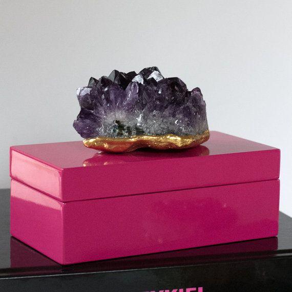 Amethyst Box Quartz Box Mineral Box Stone Box Decor Box Trinket Box Jewelry Box Decorative Unique Items Products Raw Stone Jewelry Crystal Gifts