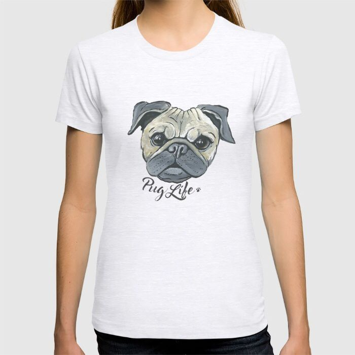 NEW Society6 products! Available as a tote bag, t-shirt, cell phone case, pillow & more! Pug life. Pugs. Pug lovers. www.kyliemlewisart.com