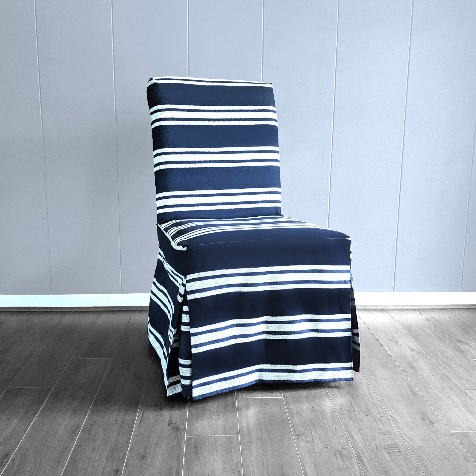 SUNBRELLA Navy White Stripes, IKEA HENRIKSDAL Dining Chair