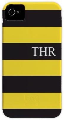 Black and Yellow Stripe iPhone Hard Case