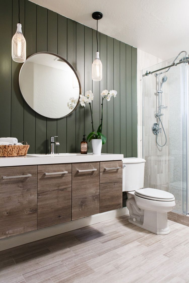Bathroom Makeover Using Vertical Shiplap Appearance Boards Guest Bathroom Remodel Bathrooms Remodel Small Bathroom Remodel