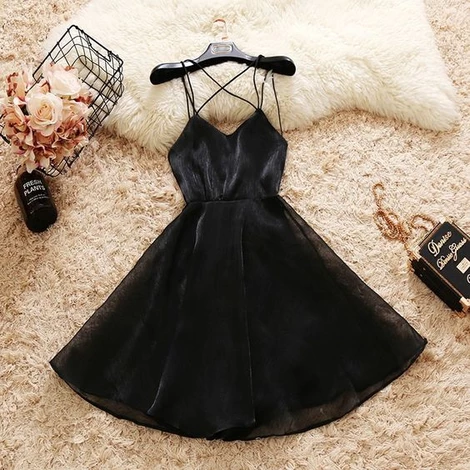 A-Line Spaghetti Straps Black Homecoming Dresses , Formal Party Dress S4466