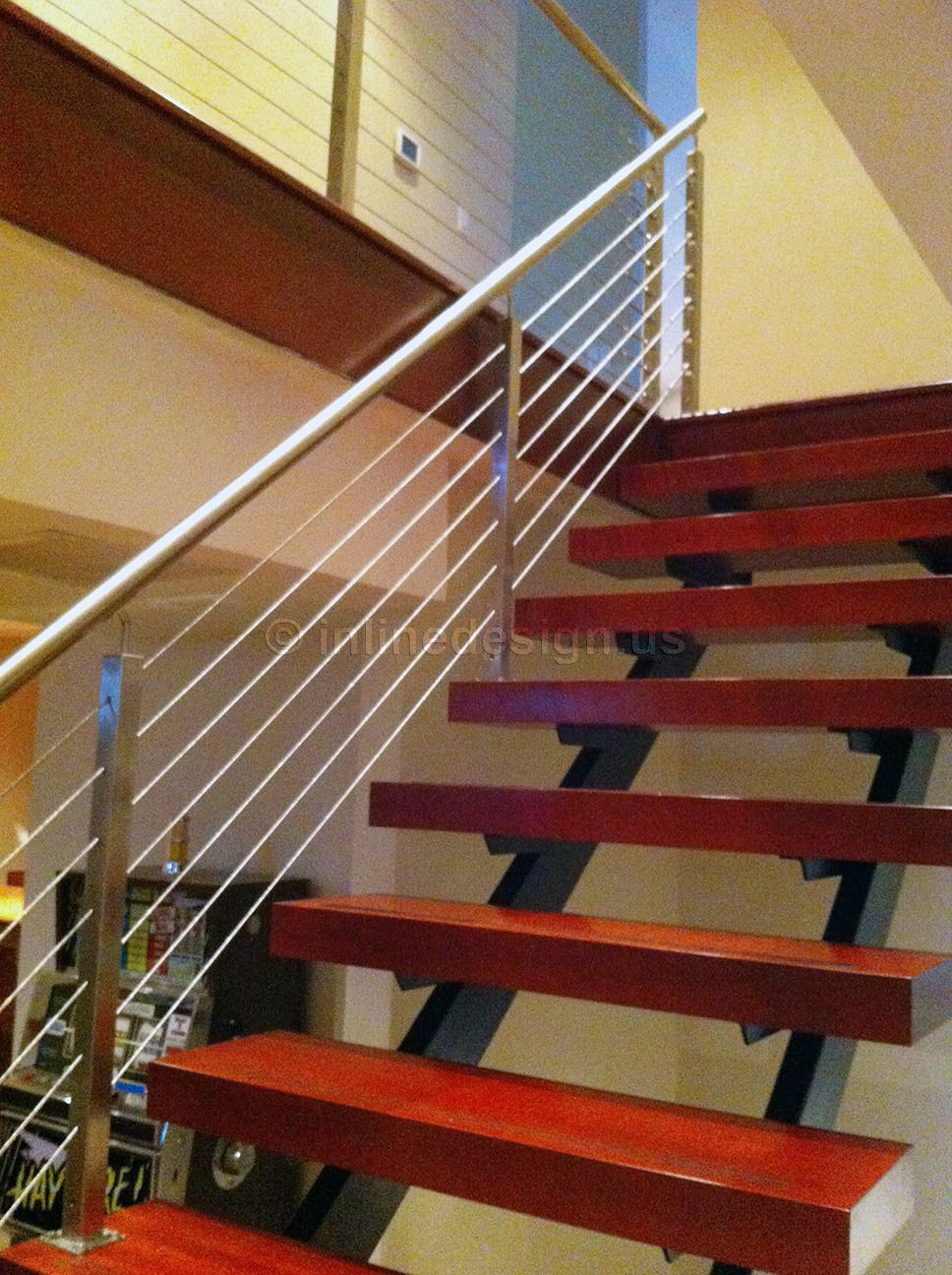 Black Steel Spine Stainless Rails Wooden Steps Single