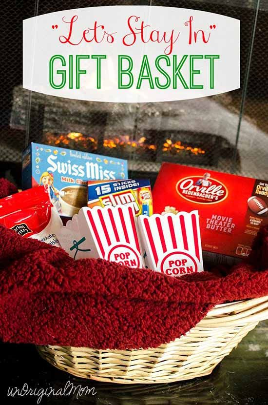 let s stay in gift basket with personalized popcorn tubs popcorn