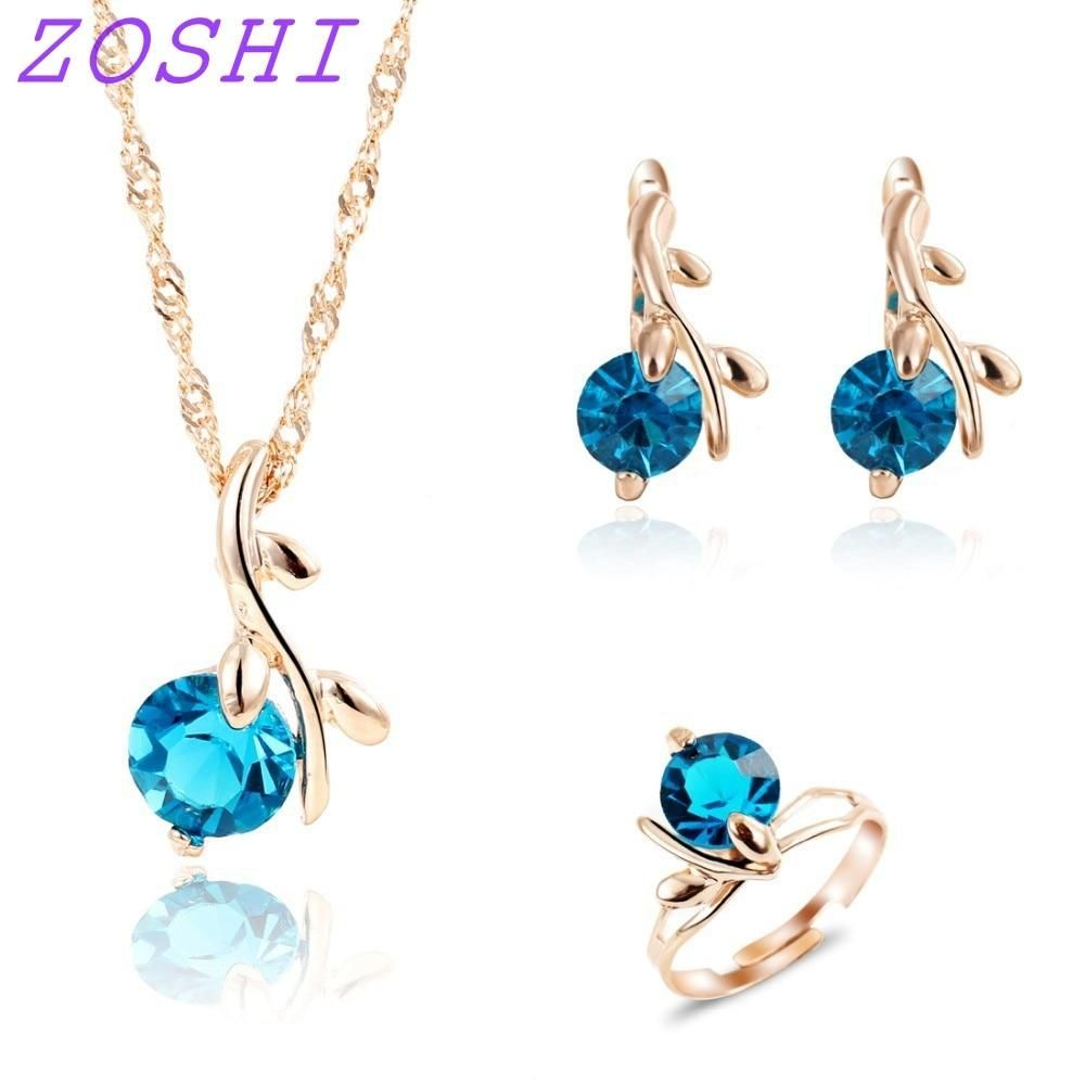 Fashion necklace earrings ring wedding bridal jewelry sets for women