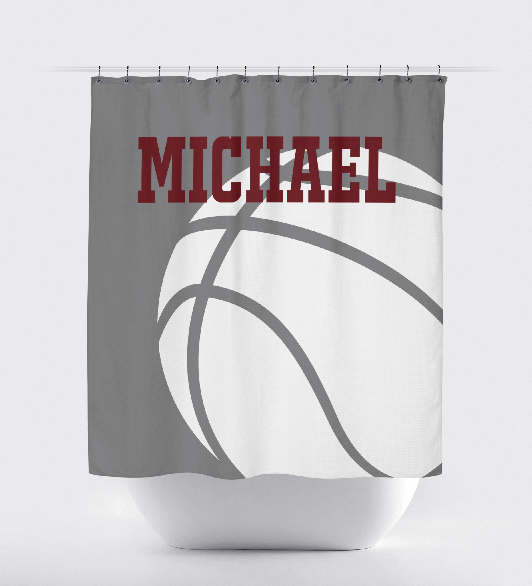 Basketball Shower Curtain With Name Titanium Burgundy And White
