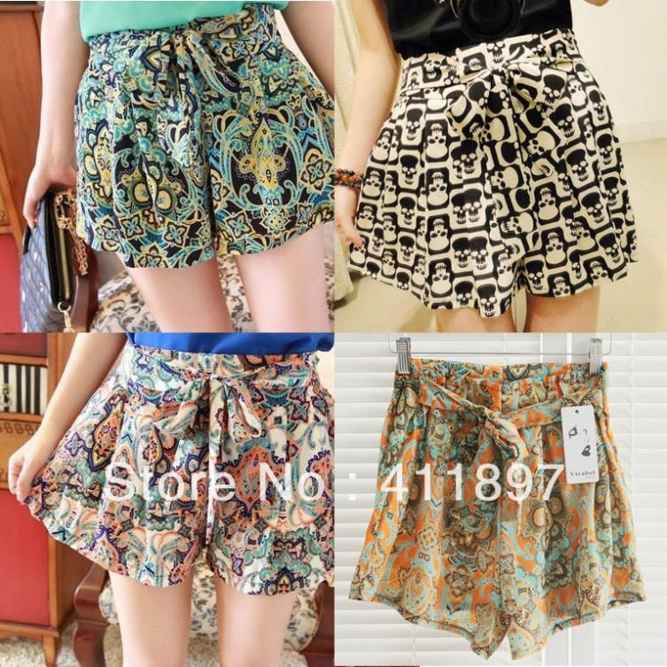 US $6.76 |New 2014 summer Shorts for women vintage loose skull floral Print chiffon shorts with elastic waist 4 patterns free shipping|shorts|shorts boardshorts jeans for men - AliExpress