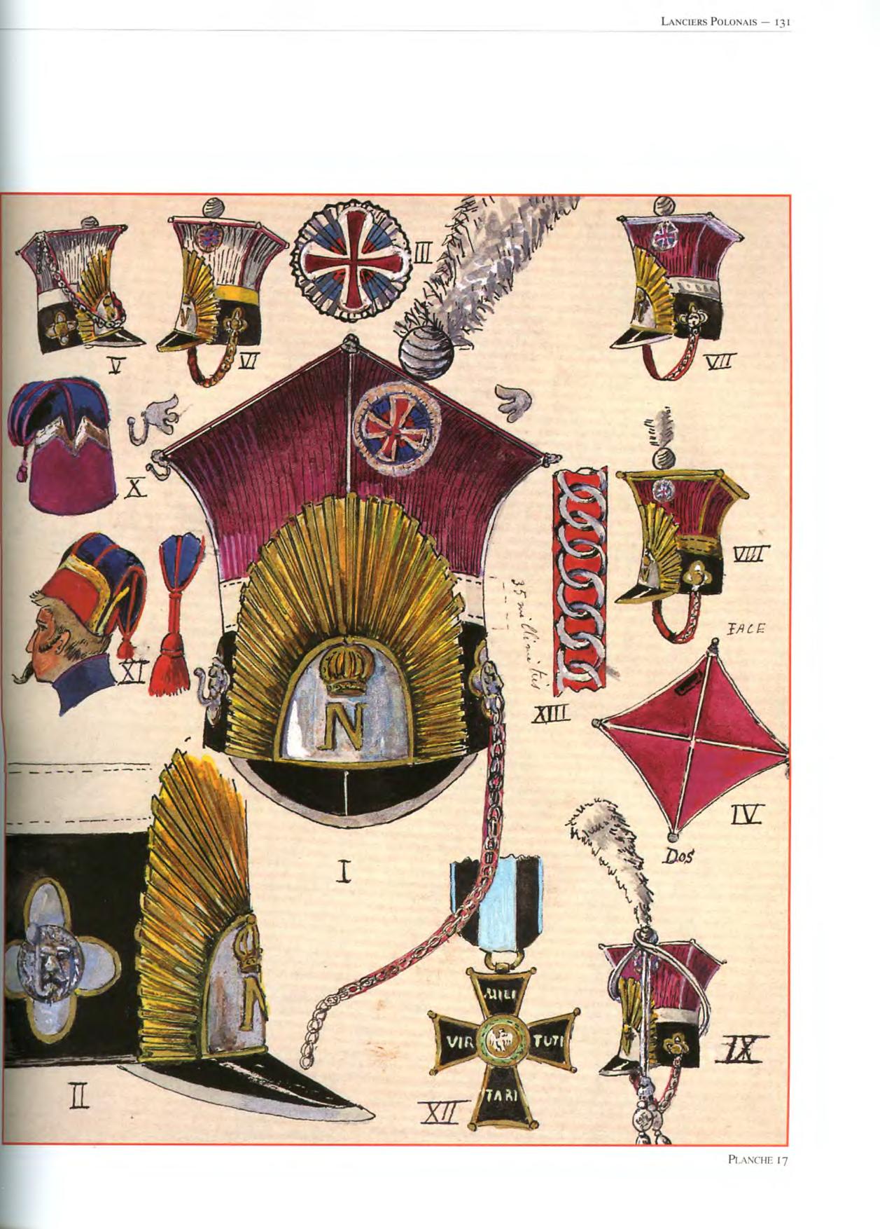 Copricapo e decorazioni dei lancieri polacchi della guardia imperiale francese