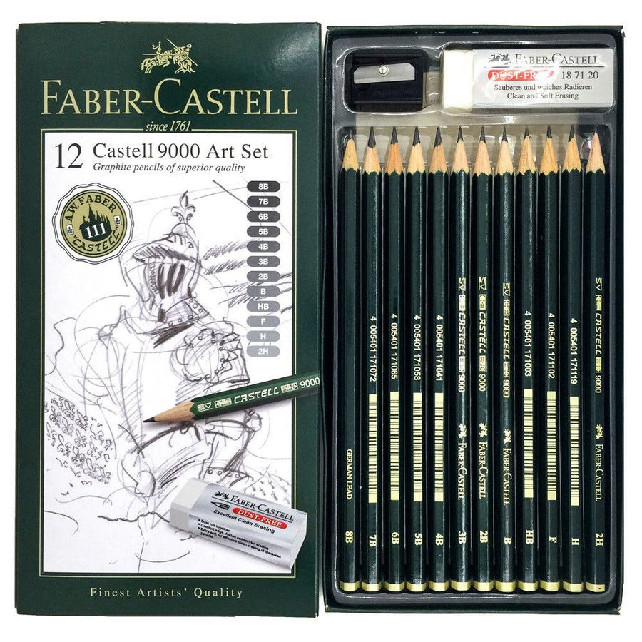 Faber Castell 9000 Graphite Sketch Pencils Art Set 12pc With
