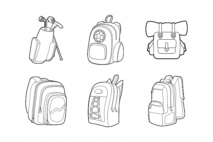 Backpack Icon Set Outline Style 379147 Icons Design Bundles Icon Set Icon Design Icon