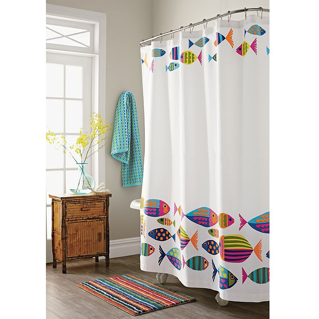 Calypso Fish Shower Curtain The Company Store Care For A Swim