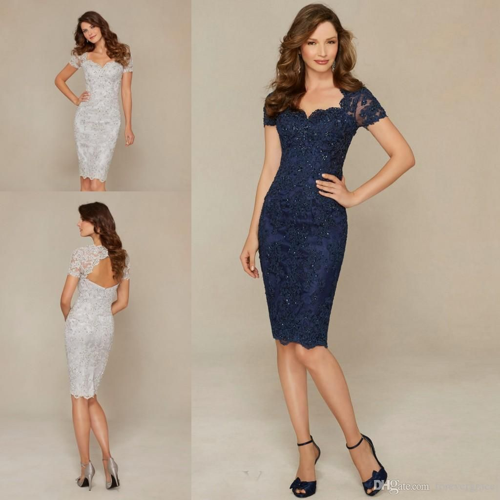 Navy Blue Silver Mother Of The Bride Dresses Elegant Sheath Lace