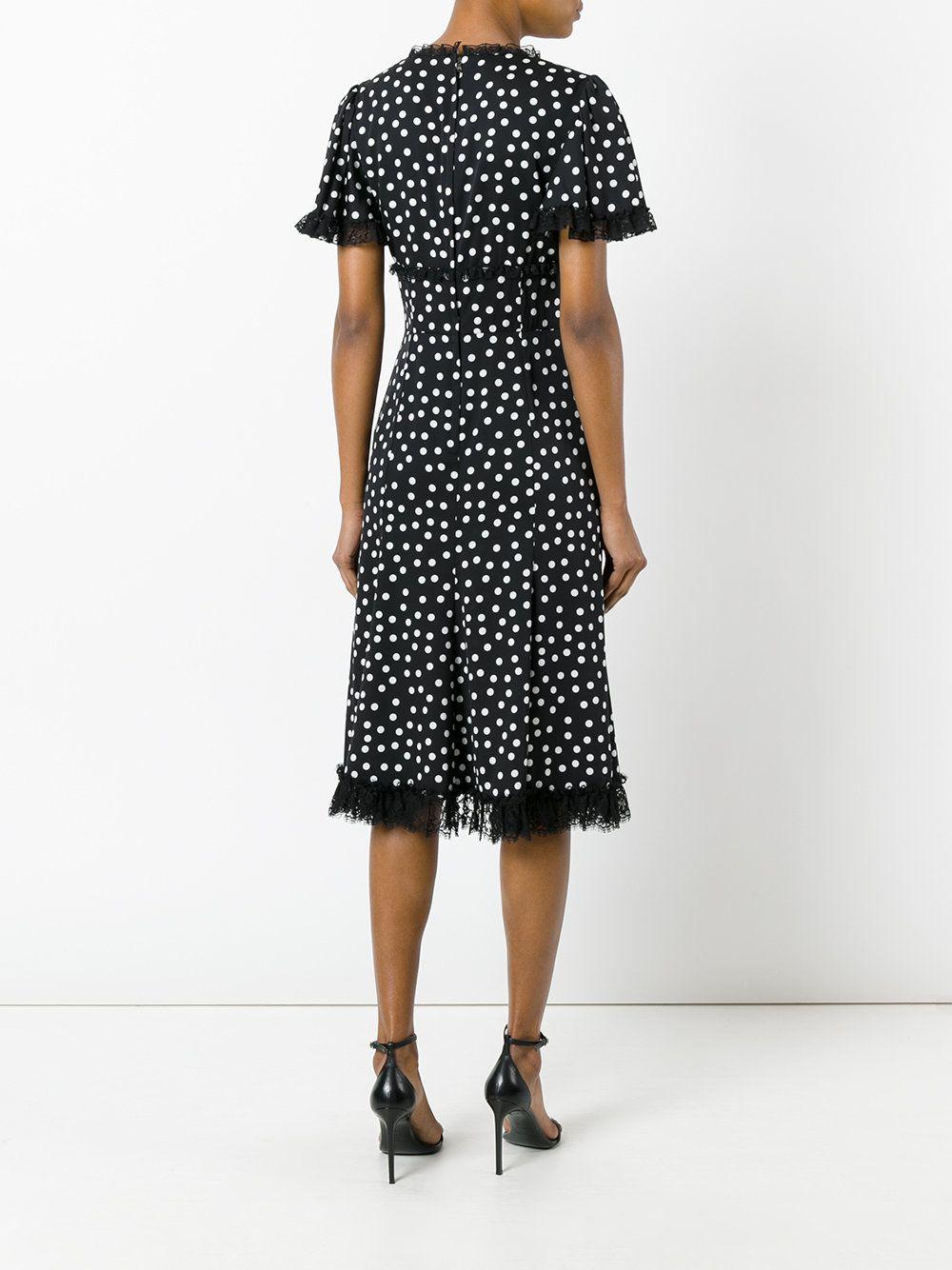 Dolce & Gabbana Vestido com poás e acabamento em renda