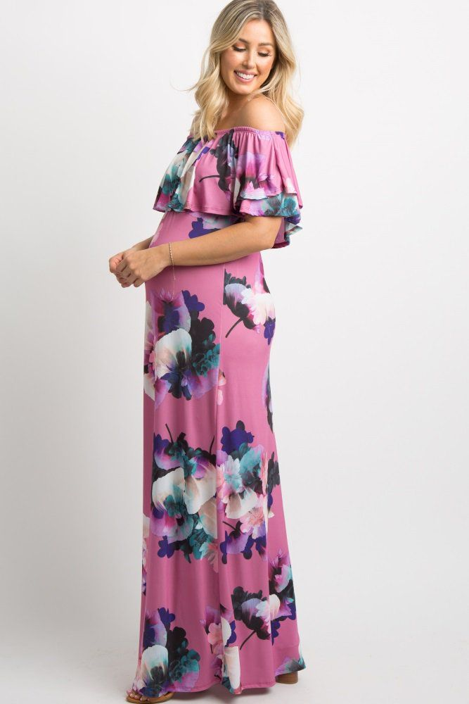 5894379599723 Pink Floral Ruffle Off Shoulder Maxi Dress A pink floral print, off  shoulder maternity maxi dress featuring a cinched elastic neckline and  waistline, ...