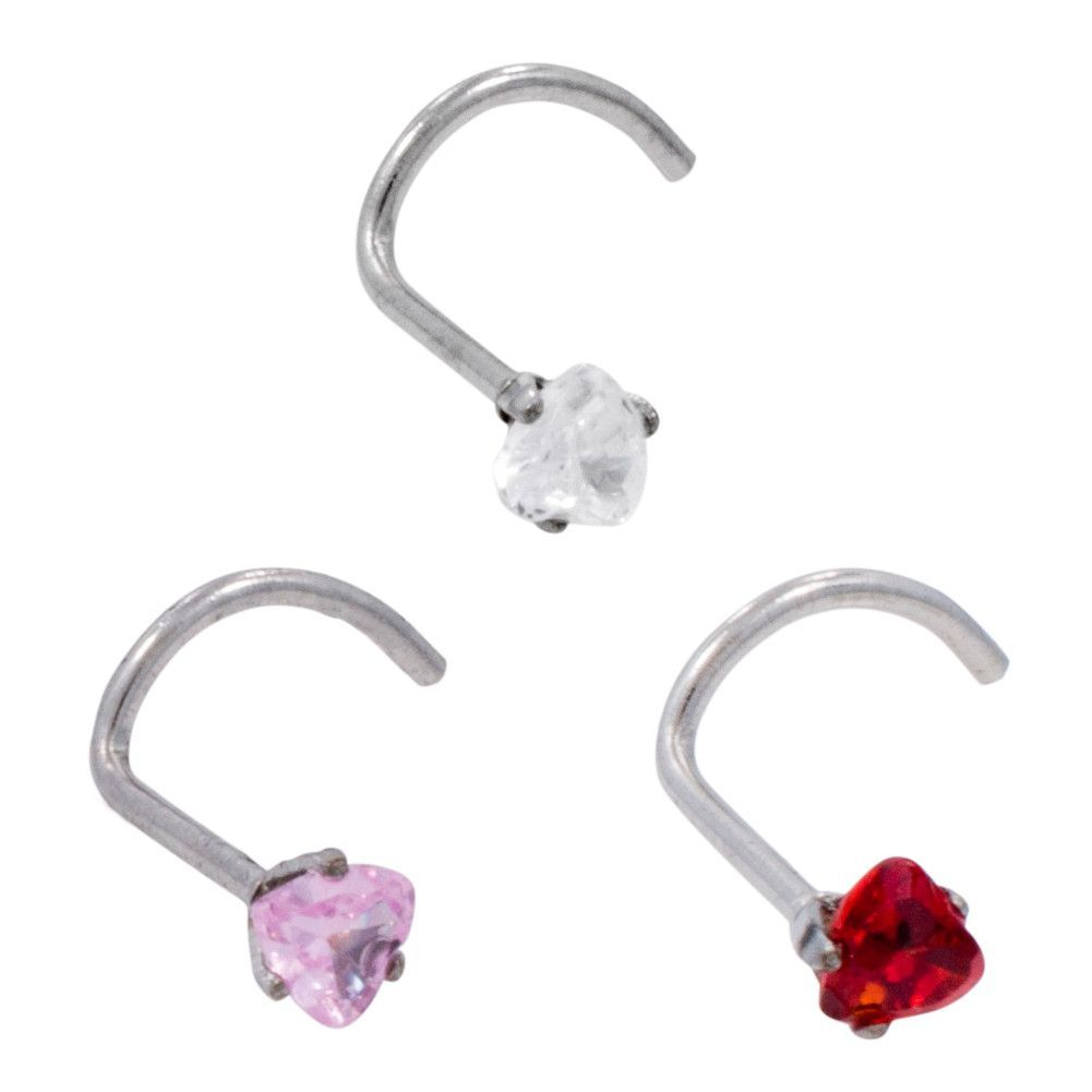 Nose piercing kit   Gauge Stainless Steel Prong Set Heart Gem Nose Screw  Products