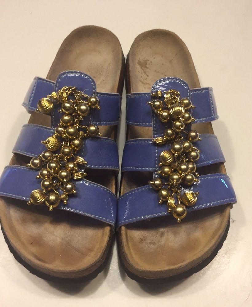 4c0e2c46614e Birkenstock Betula Women's Periwinkle Patent Leather Beaded Sandals Size 40  #Betula #Slides