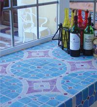Handmade tile - kitchen splashback - vitreaux purple