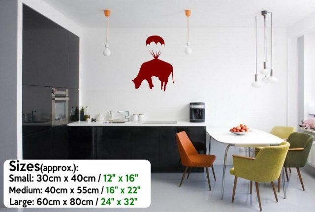 Banksy Cow Parachute Funny Vinyl Wall Stickers Decal High Quality Many colours