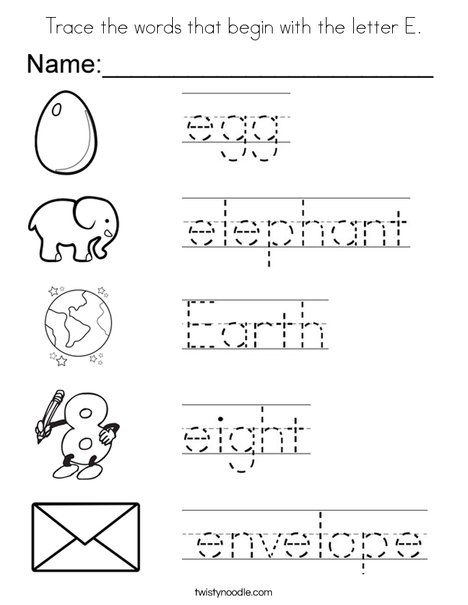 Trace The Words That Begin With Letter E Coloring Page