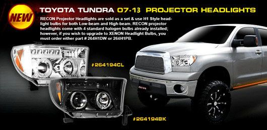 Recon Part 264194bk Toyota Tundra 07 13 Amp Sequoia 08 13 Projector Headlights W Led Halos Amp Drls Smoked Le Toyota Tundra Projector Headlights Tundra