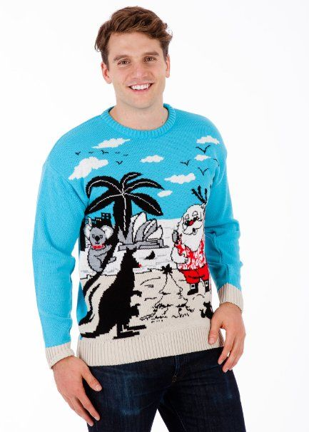 Amazon Com Christmas In Australia Mens Christmas Sweater By British Christmas Jumpers Clothi Christmas Sweaters Mens Christmas Jumper Christmas Sweater Men