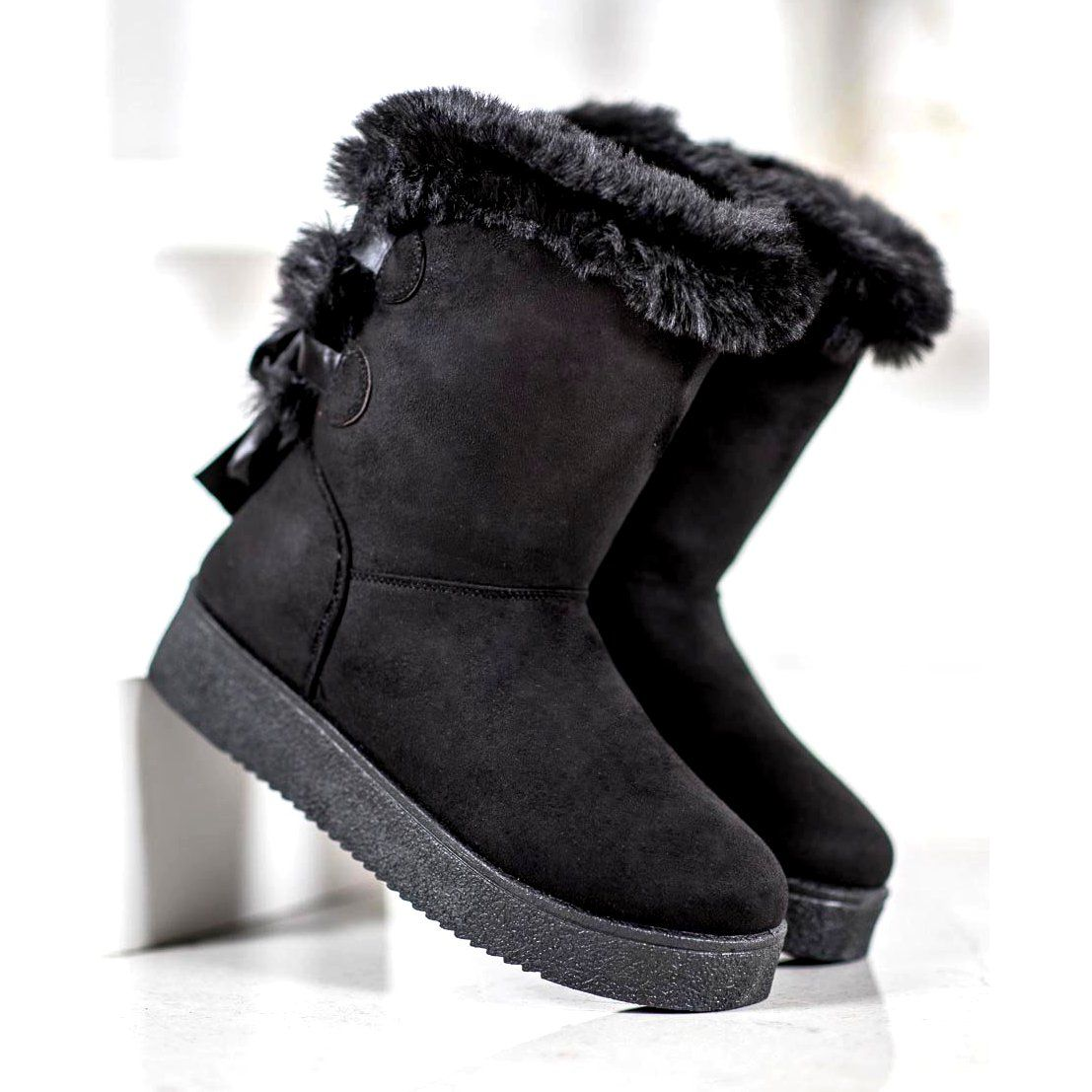 Shelovet Mukluki With A Bow Black Snow Boots Women Comfortable Shoes Types Of Heels